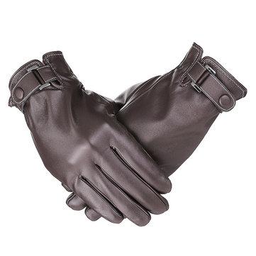 Touch Screen Driving Gloves Men's Lambskin Leather Button Wrist Winter Warm Fleece Lining