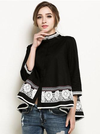 Soporte de mujer elegante blusa de cuello grano bordados patchwork