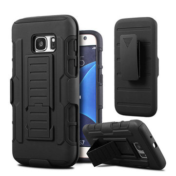 3-in-1 Silicone+PC Armor Belt Clip Stand Holder Cover Case For Samsung Galaxy S7