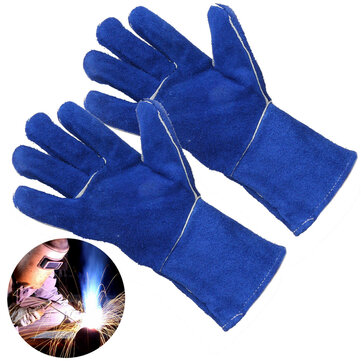 1 Pair Wood Burner Welder Gauntlets Fire High Temp Stoves Protection Long Gloves Blue