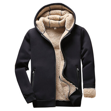 Autumn Winter Men's Warm Thick Cashmere Hoodies Sweater Outdoor Zip Up Fleece Lining Hoodies