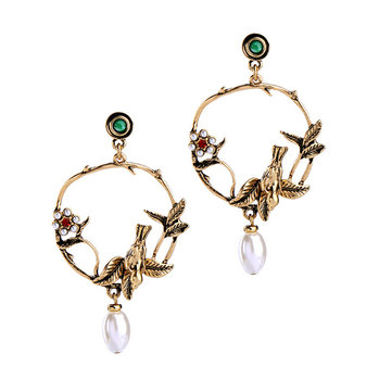 Trendy Vivid Pearl Earrings with Bird on The Tree Irregular Hoop Gold Earring for Women