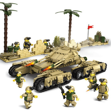 Kazi Tank Team Building Block Sets Toys Educational Gift Fidget Toys #8404 1184 Push Pcs