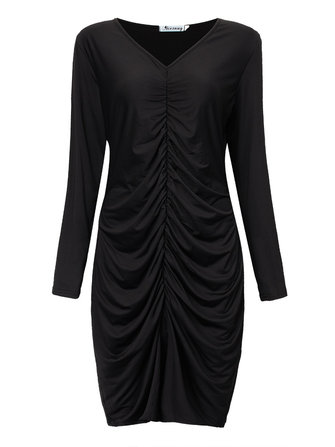 Sexy Women Deep V Neck Split Elastic Pleated Long Sleeve Party Dress
