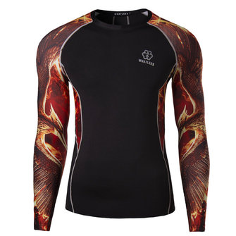 Mens Raglan Sleeve Digital Printing Tights Quick Drying Sport Breathable Wicking Long Sleeve T-shirt
