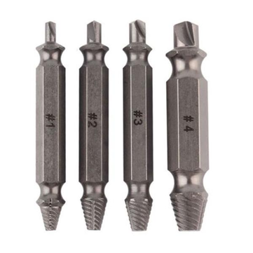 Drillpro 4pcs Double Side Drill Out Damaged Screw Extractor Drill Bits Stripped Screw Removers