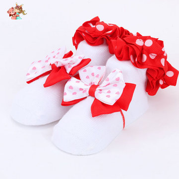 6 Pairs Baby Girls Pure Cotton Princess Socks Anti Skid Floor Socks