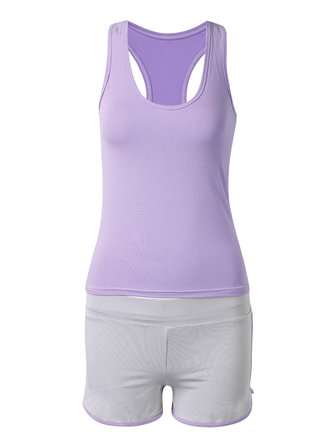 Women Summer Solid Sleeveless Yoga Vest Shorts Two-piece Tracksuit
