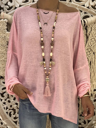 Women Casual Loose Solid Color Long Sleeve Blouse