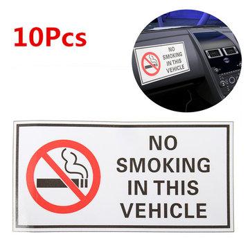 10Pcs Waterproof NO SMOKING IN THIS VEHICLE Warning Sign Vinyl Decal Sticker 120*60mm