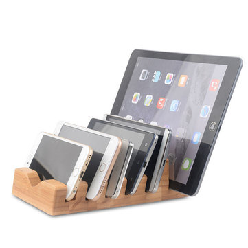 6 in 1 Natural Wood Charging Station Docking Organizer For Tablet Cell Phone