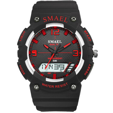 SMAEL 1539 Student Sport Watch Casual Style Waterproof Digital and Analog Dual Display Wristwatch
