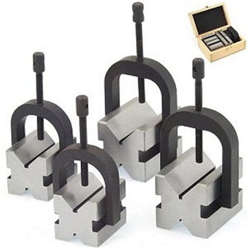 8pcs V Block Clamp Double Sided 90 Degree Hardened Steel CNC Tool
