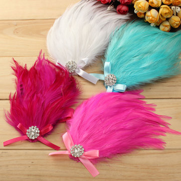 Baby Girl Headbrand Infant Colorful Pure Feather Rhinestone 4 Color Flower Kids Hair Band