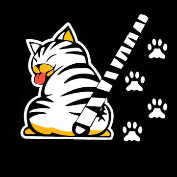 3D Car Stickers Cartoon White Cat Moving Tail Rear Window Wiper Reflective Decals