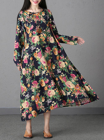 Floral Print Long Sleeve Mid-long Dress