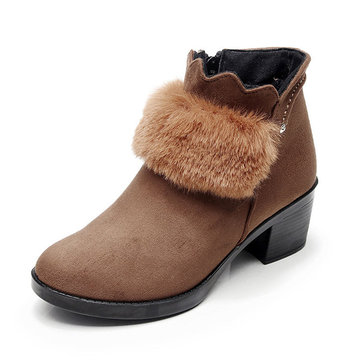 Zipper Fluffy Faux Fur Lining Thick Heel Ankle Boots