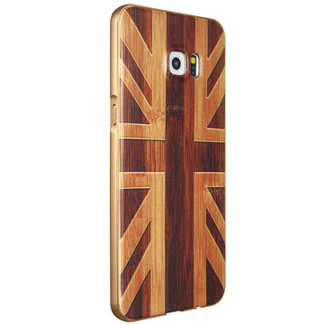 Wooden Pattern Hard Back Case Gold Alloy Frame Protective Shell for Samsung Galaxy S6 Edge Plus