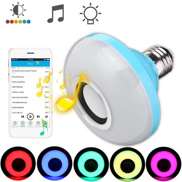 E27 8W Bluetooth Speaker RGBW LED Light Bulb Wireless Music Playing Remote Control AC110-240V