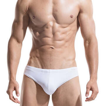 Mens Front Padded Solid Color Sexy Low Rise Swimwear Briefs Swimming Trunks