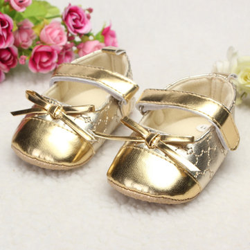 Infant Toddler Baby Girl Leather Bowknot Soft Sole Shine Walking Lovely Crib Parm Newborn Shoes