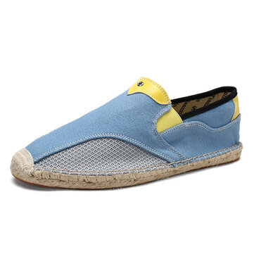 Men Comfy Hand Stitching Canvas Cloth Espadrille Loafers