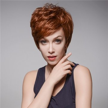 4.72 inch Natural Short Human Hair Wigs Side Bang Mono Top Capless 13 Colors Full Wig Charming