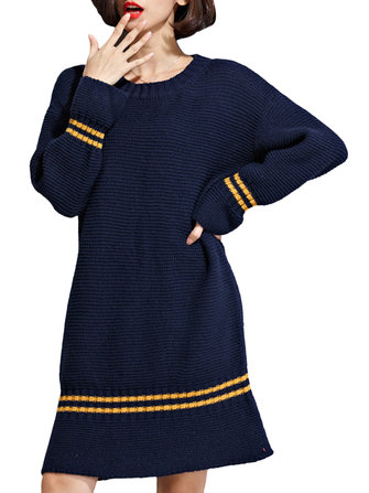 Women Stripe O-Neck Long Sleeve Knitted Loose Dress
