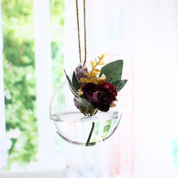 10x10cm Clear Ball Glass Hanging Vase Bottle Terrarium Container Plant Flower Home Garden DIY Decor