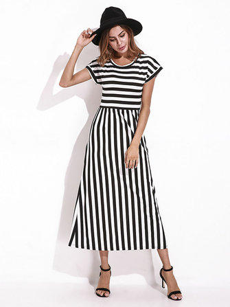 Casual Women Striped Summer Maxi Dress