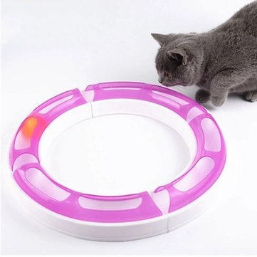 Cat Pet Track and Ball Interactive Amusement Plate Training Toys Ball Disk Play Game