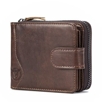 Bullcaptain Cowhide Short Wallet Zipper Coin Bag with 16 Card Slots