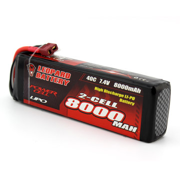LEOPARD Power 7.4V 8000mAh 40C 2S TRX Plug Lipo Battery for TRAXXAS SUMMIT RC Car