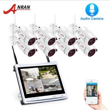 ANRAN 1080P 8CH Wireless Audio Record Surveillance Camera System IP Camera Outdoor Night Vision CCTV Security Camera System