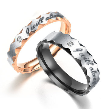 Trendy Titanium Steel Couple Letter Rose Gold Plated Rings