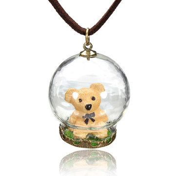 Cartoon Glass Ball Bead Pendant Sweater Necklace Long Chain