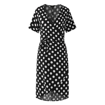 Women V-Neck Polka Dot Irregular Hem Short Sleeve Dress