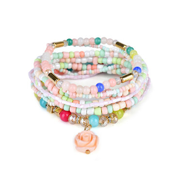 Bohemian Multilayer Sweet Rose Flower Pendant Bead Bracelet Women Clothing Accessories