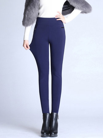 S-4XL Casual Women Brief Slim Elastic Waist Velvet Thick Pants