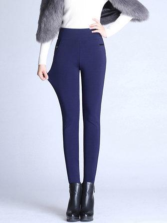 S-4XL Casual Women Brief Slim Elastic Waist Velvet Thick Pants
