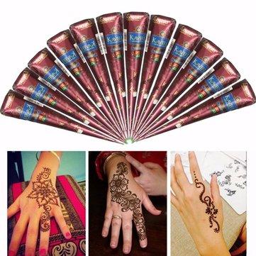 5Pcs Natural Herbal Henna Cones Temporary Tattoo Body Art Tool Hair Loss