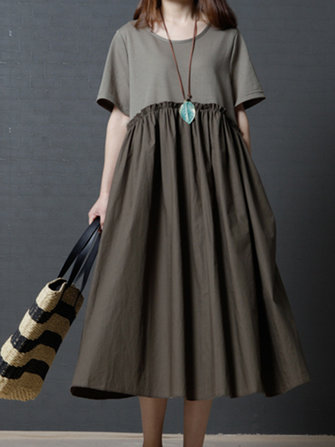 Short Sleeve Patchwork Loose O-neck Pocket Women Dresses