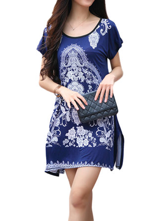 Elegant Women Short Sleeve Printed Split Bombasine T Shirt Dress