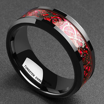 Ethnic Solid Carbon Fiber Finger Rings Vintage Red Dragon Pattern Finger Ring Jewelry For men