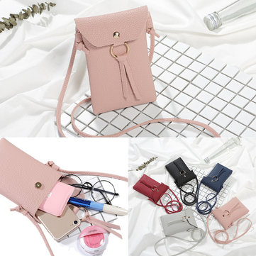 Compact Embossing PU Leather Messenger Bag Phone Bag for Phone Under 5.5-inch