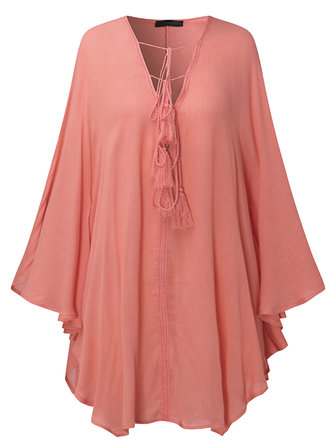 Sexy Women V-Necklace Up Batwing Sleeve Beach Loose Tops