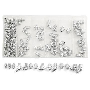 110 Pcs Hydraulic Lubrication Lube Grease Fittings Assortment Zerk Grease Zerk Nipple Fitting