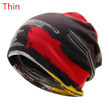 Mens Print Stripe Hip Hop Beanies Skullies Hats Plus Cashmere Warm Scarf