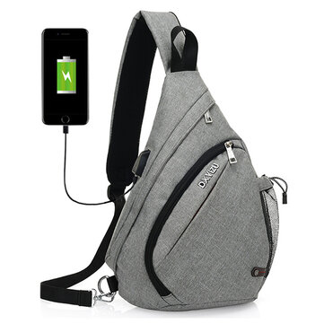 Men Outdoor Sport Bag Swagger Bag  Casual Sling Bag with USB Charging Port for Leisure