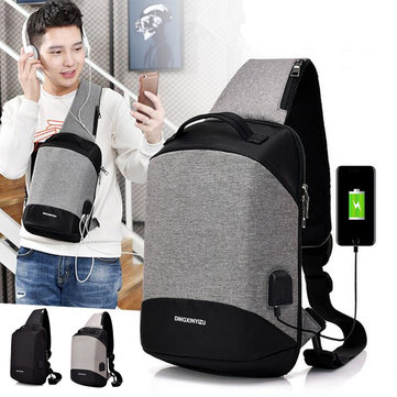 Outdoor Anti-theft Chest Bag Pocket USB Charging Port Messenger Canvas Vertical Square Sling Bag